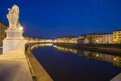 Notte Pisa Toscana Italia Europa di Lungarno Fotografie Stock Libere da Diritti