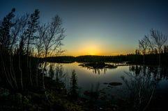 Notte polare lontano dalla città Immagini Stock