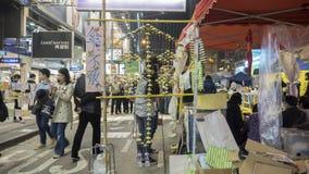 Notte prima di spazio alla rivoluzione dell'ombrello - baia della strada soprelevata, Hong Kong Fotografia Stock