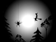 Notte, ragno e strega Immagini Stock