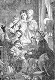 Notte, regali di Natale e bambini santi di arrivo fotografie stock libere da diritti