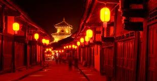 Notte rossa della lanterna della vecchia città della porcellana Immagine Stock Libera da Diritti