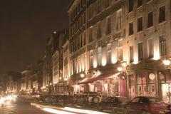 Notte Scence di vecchia Montreal Immagini Stock