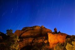 Notte Sedona Arizona di prove della stella del canyon di Boynton Fotografia Stock