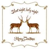 Notte silenziosa, notte santa - cartolina di Natale Immagine Stock