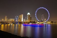 Notte a Singapore Immagini Stock Libere da Diritti