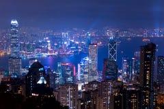 Notte sopra Hong Kong Immagini Stock
