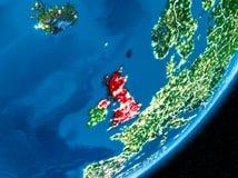 Notte sopra il Regno Unito Fotografia Stock