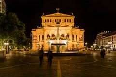 Notte sparata di vecchia opera Francoforte Fotografie Stock Libere da Diritti