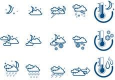 Notte stabilita del icone di vettore di bollettino meteorologico Fotografia Stock Libera da Diritti