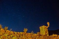 Notte stellata alla città fantasma 1 Fotografie Stock Libere da Diritti