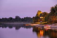 Notte sul fiume Pripyat fotografie stock
