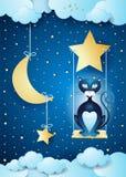 Notte surreale con il gatto nero e l'oscillazione Fotografia Stock Libera da Diritti