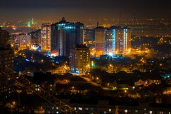 Notte Voronež Vista aerea alle alte costruzioni moderne Immagine Stock Libera da Diritti