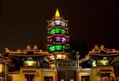 Notte Wuxi Cina del tempiale del Taoist Immagini Stock
