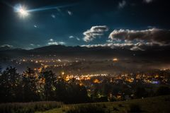 Notte in Zakopane fotografia stock