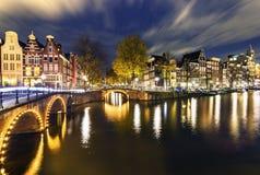 Notti di Amsterdam Immagini Stock Libere da Diritti