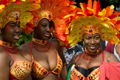 Notting Hill Carnival. 30 August 2010 - London UK:  Three masqueraders at the annual Notting Hill Carnival Royalty Free Stock Image