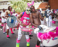 Notting Hill Carnival in London men playing drums Royalty Free Stock Image