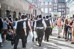 Notting Hill Carnival. Police line at the London Notting hill carnival parade Royalty Free Stock Image