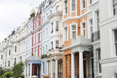 Notting Hill colorful houses. At Portobello, west London Stock Photos