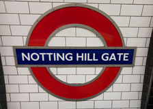 -notting Hill Gate. Close up view of notting Hill Gate Logo Royalty Free Stock Images