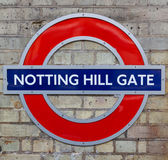 Notting Hill Gate Underground station sign Royalty Free Stock Image