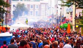 Notting Hill karnevalfolkmassa Arkivfoto