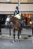 NOTTING HILL, LONDRES - 27 DE AGOSTO DE 2018: O agente da polícia montado do motim olha a cavalo esgotado na extremidade de Notti imagens de stock