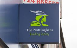 Nottingham Building Society sign on the high street - Scunthorpe, Lincolnshire, United Kingdom - 23rd January 2018. A Nottingham Building Society sign on the royalty free stock images