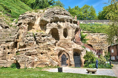 Nottingham Castle Caves. Part of the sandstone rock upon which Nottingham Castle stands Royalty Free Stock Photography