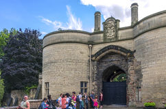 Nottingham castle. Tourists in front of the Nottingham Castle, a magnificent 17th-century ducal mansion built on the site of the original medieval castle. The Stock Photos