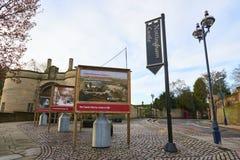 Nottingham castle. NOTTINGHAM, UK - DECEMBER 04: Entrance to Nottingham Castle. The castle has become well known in popular culture for being the set of Robin stock image