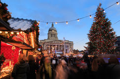 Nottingham, Christmas tree and market and lots of people. Stock Image