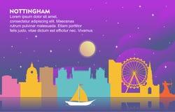 Nottingham City Building Cityscape Skyline Dynamic Background Illustration stock illustration