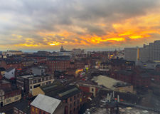 Nottingham City Centre. Skyline at sunset royalty free stock photography