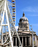 Nottingham council house & big wheel. royalty free stock photos