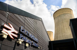 Nottingham East Midlands Parkway Train Station and cooling tower Stock Image
