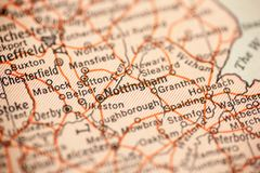 Nottingham on Vintage Map. Nottingham, England is the point of focus on a vintage map royalty free stock images