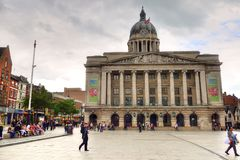 Nottingham market square with council house.  Stock Photos