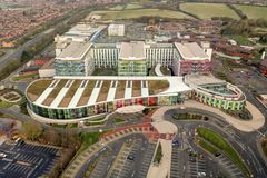 Aerial View of Kings Mill Hospital, Nottingham, England stock photography
