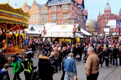 Christmas market, Nottingham, UK. Royalty Free Stock Photos