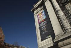 Nottingham, Nottinghamshire, UK: October 2018: Banner to Celebrate Black History Month stock image