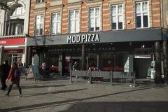 Nottingham, Nottinghamshire, UK: October 2018: MOD Pizza Sign royalty free stock image