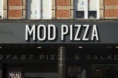 Nottingham, Nottinghamshire, UK: October 2018: MOD Pizza Sign stock photography