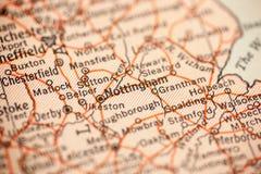 Nottingham sulla mappa d'annata immagini stock libere da diritti