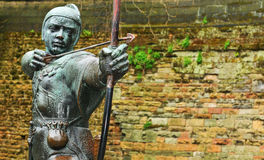 Robin Hood. Statue in front of Nottingham Castle (United Kingdom Royalty Free Stock Photo