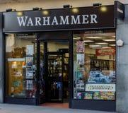 Warhammer store, Nottingham. Nottingham, UK: February 7, 2018: The Warhammer Games Workshop store on Friar Lane Nottingham. Warhammer are specialist reatilers of stock image