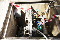 Notwasserversorgungsanlage für Hydrantausgang Stockfotografie
