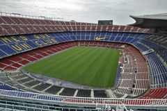 Nou Camp Stadium. Futbol Club Barcelona Stadium, where take place the matches of First division soccer team Royalty Free Stock Photos